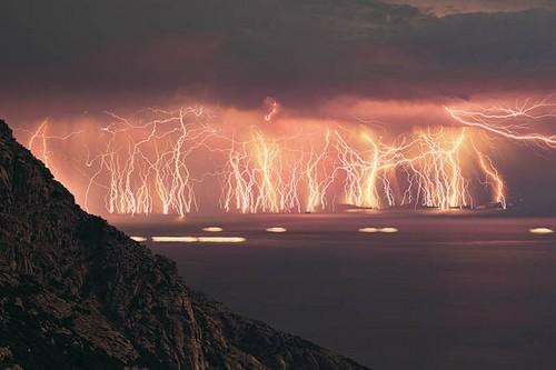 Lightning Raining on the Ocean